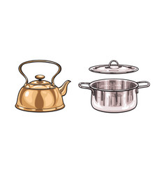 metal kettle pot sketch cartoon isolated vector image