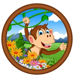 monkey cartoon hanging vector image