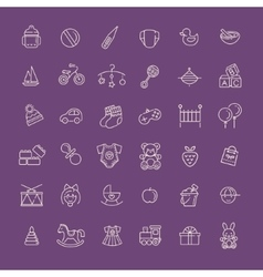 Outline web icon set batoys feeding and care vector