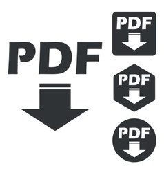 PDF download icon set monochrome vector image