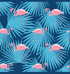 pink flamingos and palm leaves seamless tropical vector image