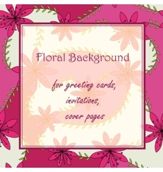 Pink flowers with stamens background vector