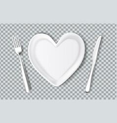 Plate in shape of heart knife fork vector
