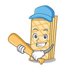 playing baseball waffle character cartoon style vector image