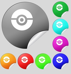 Pokeball icon sign Set of eight multi colored vector
