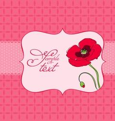 Poppy flower greeting card vector