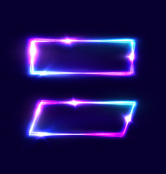 rectangle neon signs set on dark blue background vector image