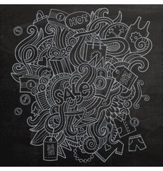 Sale doodles elements sketch background vector image