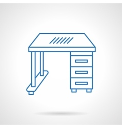 School desk blue flat line icon vector