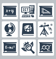 School subjects icons set algebra ict geometry vector