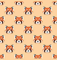 Seamless cute red panda face pattern vector