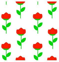 seamless pattern with simple cute flowers vector image