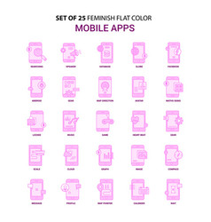 Set of 25 feminish mobile apps flat color pink vector