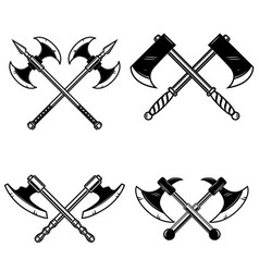 set of crossed medieval axe isolated on white vector image