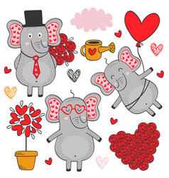 Set of isolated elephant in love part 3 vector