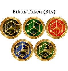 Set of physical golden coin bibox token bix vector