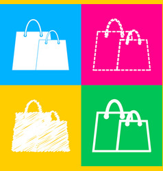 shopping bags sign four styles of icon on four vector image