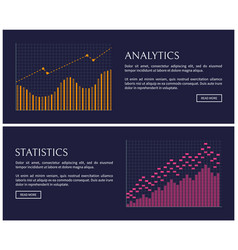 statistics blue collection vector image