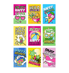 summer poster set hello summer enjoy party vector image