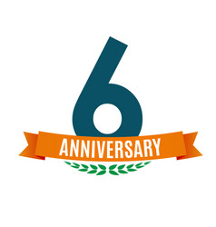 Template 6 years anniversary background vector