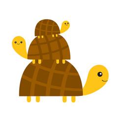 three turtle tortoise pyramid cute cartoon vector image