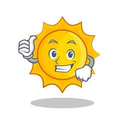 Thumbs up cute sun character cartoon vector