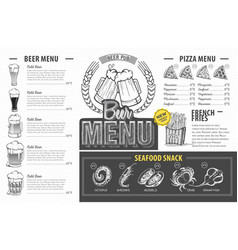 vintage beer menu design restaurant menu vector image