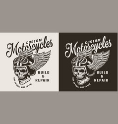 vintage custom motorcycle shop emblem vector image