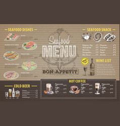 Vintage seafood menu design on cardboard vector