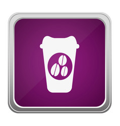violet square button relief with silhouette glass vector image
