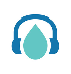 Water drop and headphone logo icon design droplet vector
