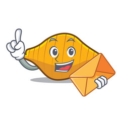 With envelope conchiglie pasta character cartoon vector