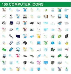 100 computer set cartoon style vector image