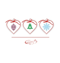 Christmas hearts with knitted elements vector image vector image