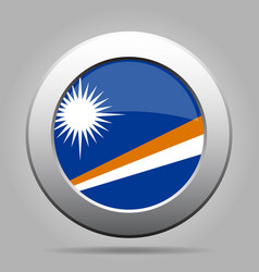 flag of marshall islands metal gray round button vector image vector image