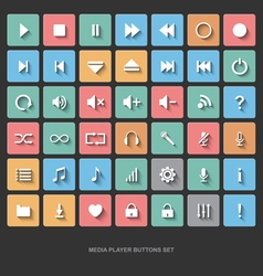 Set of media player buttons flat design vector image