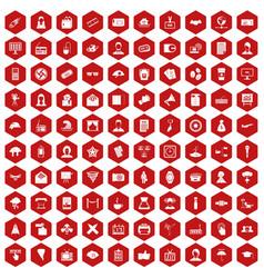 100 journalist icons hexagon red vector
