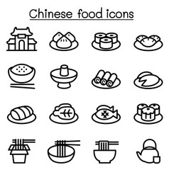 chinese food icon set in thin line style vector image