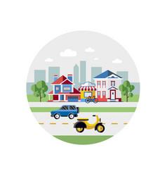 digital blue city transport vector image vector image