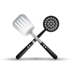 kitchen spatula and skimmer isolated on a white vector image