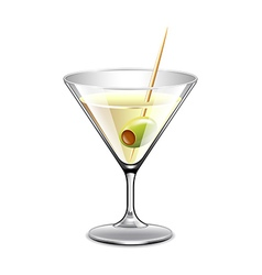 Martini in glass isolated on white vector image vector image