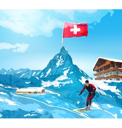 Alps Switzerland landscape vector image