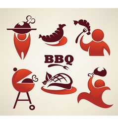 bbq and outdoor meal symbols vector image vector image