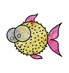 color pencil drawing of blowfish with big eyes vector image