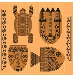 Set decorative mask fish turtle african vector image vector image
