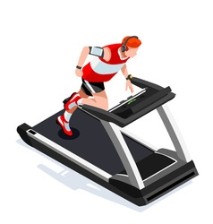 Treadmill Gym Class Working Out Isometric 3D Image vector image
