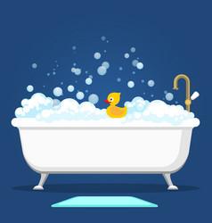 vntage bath and soap foam bubbles vector image