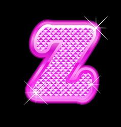 Z letter pink bling girly vector image