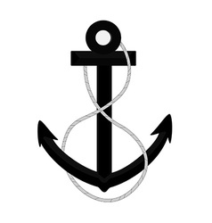 Black anchor with rope vector image vector image