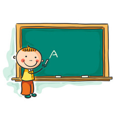little boy at the blackboard vector image vector image